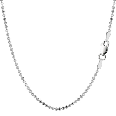 Sterling Silver Rhodium Plated Bead Chain Necklace, 1,8mm - JewelryAffairs  - 1