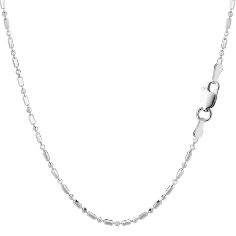 Sterling Silver Rhodium Plated And Diamond Cut Bead Chain Necklace, 1,5mm