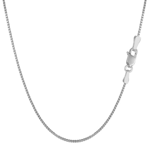 Sterling Silver Rhodium Plated Box Chain Necklace, 1.1mm - JewelryAffairs  - 1