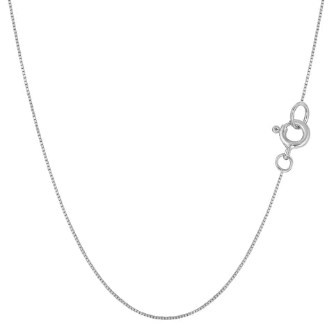 Sterling Silver Rhodium Plated Box Chain Necklace, 0.7mm - JewelryAffairs  - 1