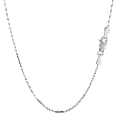Sterling Silver Rhodium Plated Box Chain Necklace, 0.9mm - JewelryAffairs  - 1