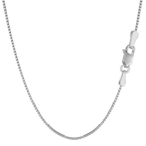 Sterling Silver Rhodium Plated Box Chain Necklace, 1.3mm - JewelryAffairs  - 1