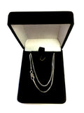 Sterling Silver Rhodium Plated Box Chain Necklace, 1.3mm