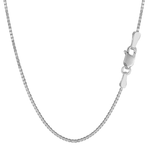 Sterling Silver Rhodium Plated Box Chain Necklace, 1,5mm - JewelryAffairs  - 1