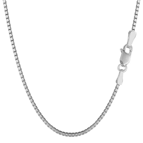 Sterling Silver Rhodium Plated Box Chain Necklace, 1,8mm - JewelryAffairs  - 1