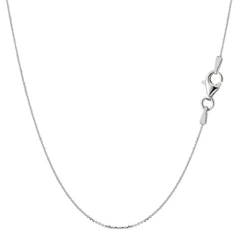 Sterling Silver Rhodium Plated Cable Chain Necklace, 0.6mm - JewelryAffairs  - 1