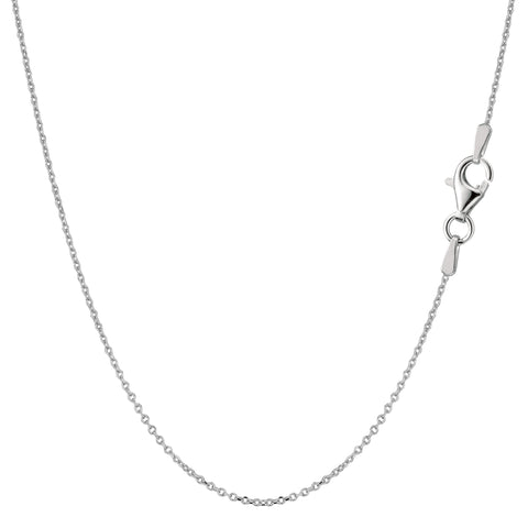 Sterling Silver Rhodium Plated Cable Chain Necklace, 0.8mm - JewelryAffairs  - 1