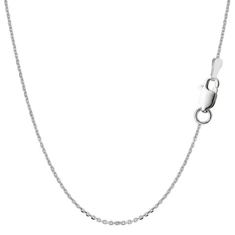Sterling Silver Rhodium Plated Cable Chain Necklace, 1.1mm - JewelryAffairs  - 1