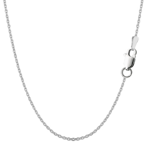 Sterling Silver Rhodium Plated Cable Chain Necklace, 1.4mm - JewelryAffairs  - 1
