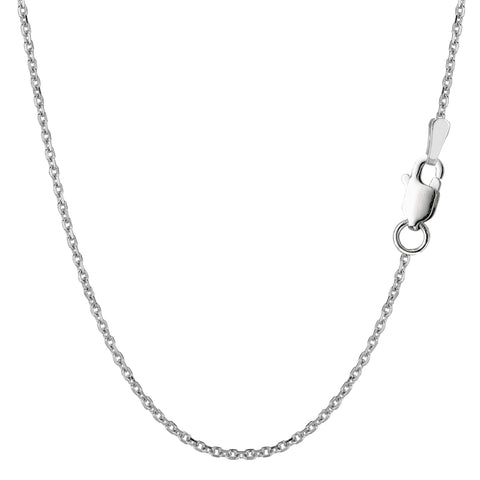 Sterling Silver Rhodium Plated Cable Chain Necklace, 1,5mm - JewelryAffairs  - 1