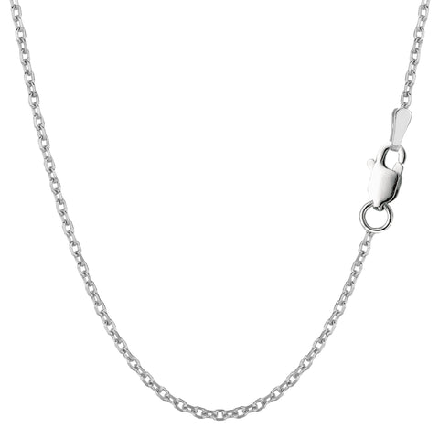 Sterling Silver Rhodium Plated Cable Chain Necklace, 1.9mm - JewelryAffairs  - 1