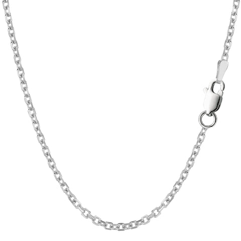 Sterling Silver Rhodium Plated Cable Chain Necklace, 2.3mm - JewelryAffairs  - 1