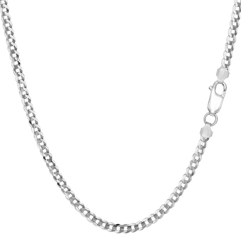 Sterling Silver Rhodium Plated Curb Chain Necklace, 3.0mm - JewelryAffairs  - 1