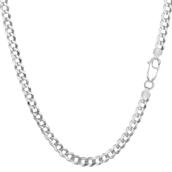 Sterling Silver Rhodium Plated Curb Chain Necklace, 3.7mm - JewelryAffairs  - 1