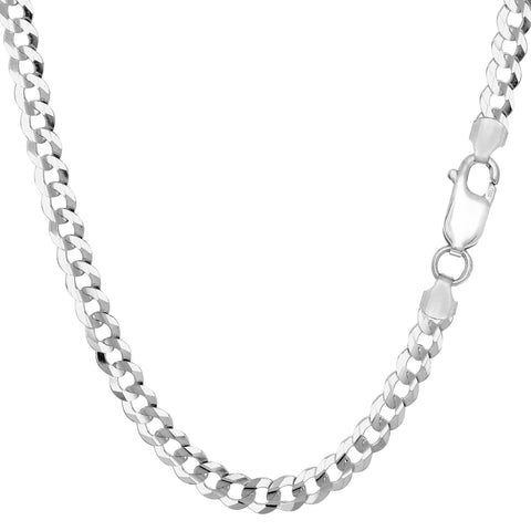 Sterling Silver Rhodium Plated Curb Chain Necklace, 4.7mm - JewelryAffairs  - 1