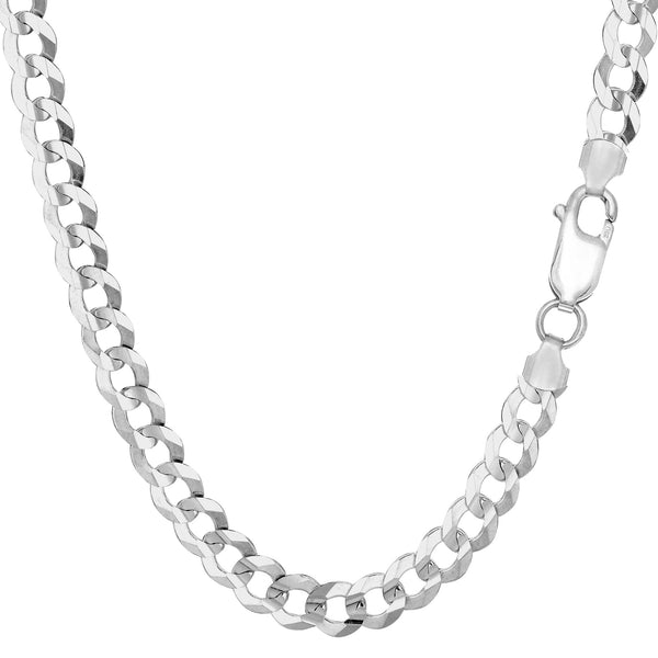 Sterling Silver Rhodium Plated Curb Chain Necklace, 5.5mm - JewelryAffairs  - 1