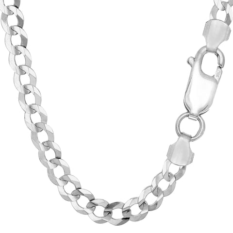 Sterling Silver Rhodium Plated Curb Chain Necklace, 7.0mm