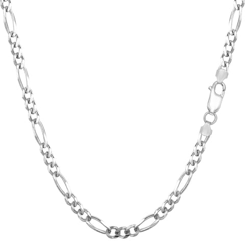 Sterling Silver Rhodium Plated Figaro Chain Necklace, 3.0mm