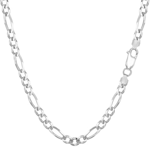Sterling Silver Rhodium Plated Figaro Chain Necklace, 3.7mm