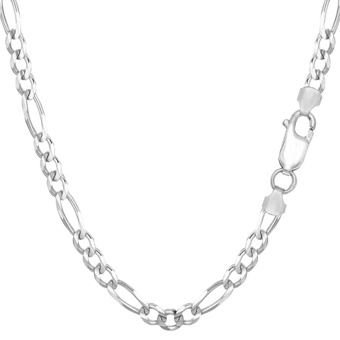 Sterling Silver Rhodium Plated Figaro Chain Necklace, 4.7mm - JewelryAffairs  - 1