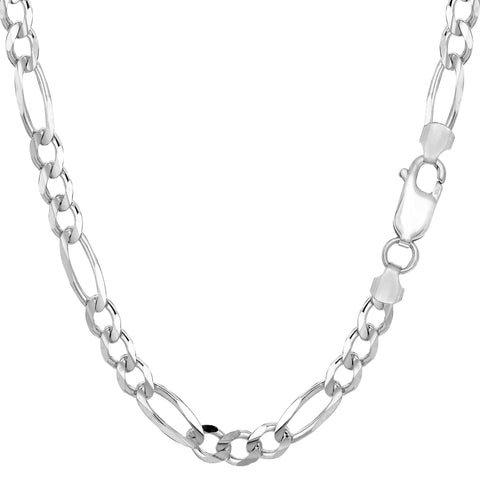 Sterling Silver Rhodium Plated Figaro Bracelet - Length 8.5 Inch - JewelryAffairs  - 1