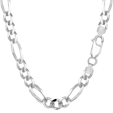 Sterling Silver Rhodium Plated Figaro Chain Necklace, 7.0mm - JewelryAffairs  - 1