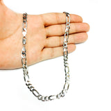 Sterling Silver Rhodium Plated Figaro Chain Necklace, 7.0mm