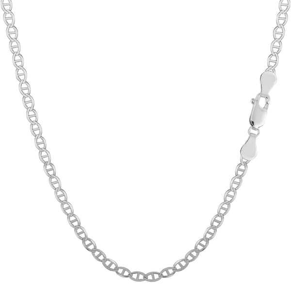 Sterling Silver Rhodium Plated Flat Mariner Chain Necklace, 2.8mm - JewelryAffairs  - 1