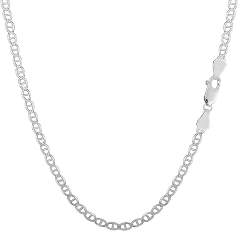 Sterling Silver Rhodium Plated Flat Mariner Chain Necklace, 2.8mm