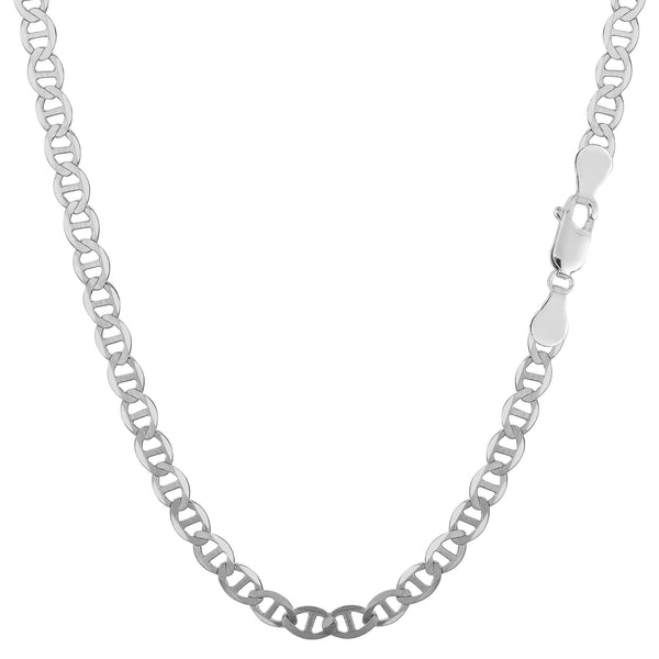 Sterling Silver Rhodium Plated Flat Mariner Chain Necklace, 3.5mm - JewelryAffairs  - 1