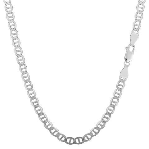 Sterling Silver Rhodium Plated Flat Mariner Chain Necklace, 3.5mm