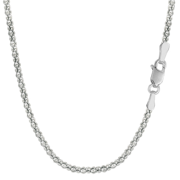 Sterling Silver Rhodium Plated Fancy Popcorn Rope Chain Necklace, 1,8mm - JewelryAffairs  - 1
