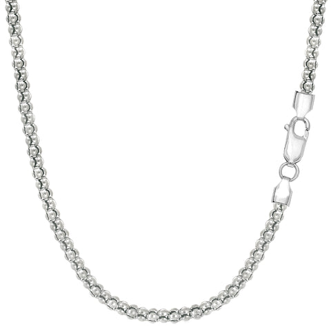 Sterling Silver Rhodium Plated Fancy Popcorn Rope Chain Necklace, 2.5mm