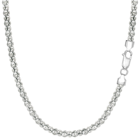 Sterling Silver Rhodium Plated Fancy Popcorn Rope Chain Necklace, 3.5mm