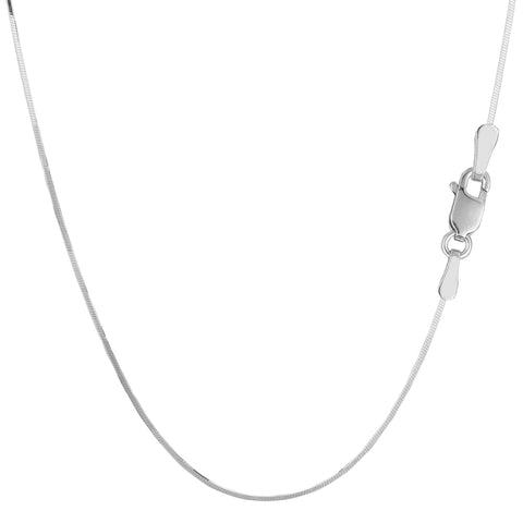 Sterling Silver Rhodium Plated Octagonal Snake Chain Necklace, 0.9mm - JewelryAffairs  - 1
