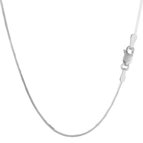 Sterling Silver Rhodium Plated Octagonal Snake Chain Necklace, 1,2mm - JewelryAffairs  - 1