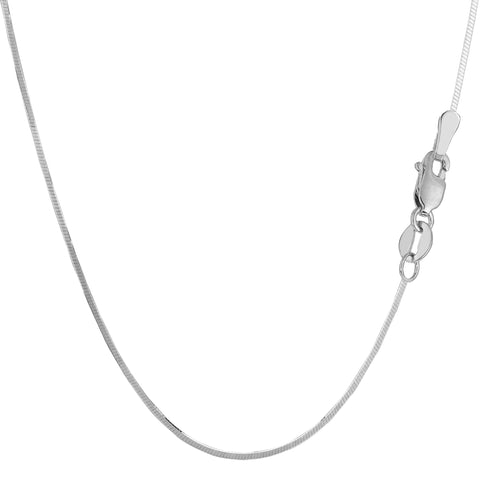 Sterling Silver Rhodium Plated Octagonal Snake Chain Necklace, 1.3mm