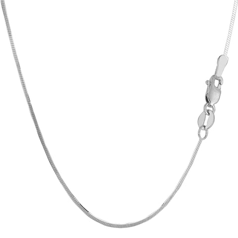 Sterling Silver Rhodium Plated Octagonal Snake Chain Necklace, 1.4mm