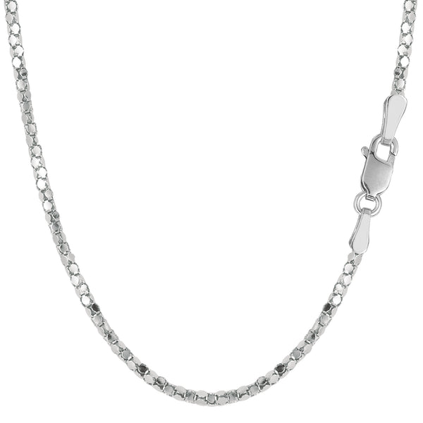 Sterling Silver Rhodium Plated Popcorn Rope Chain Necklace, 1,8mm - JewelryAffairs  - 1