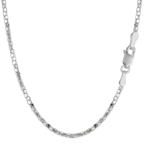 Sterling Silver Rhodium Plated Popcorn Rope Chain Necklace, 1,8mm