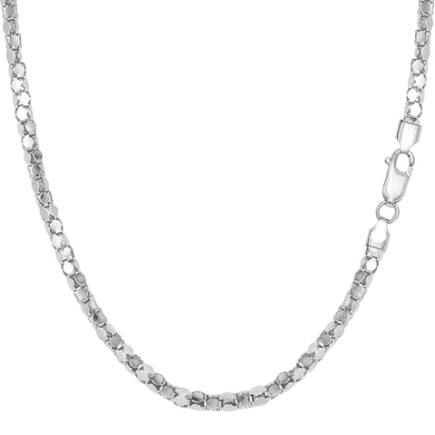 Sterling Silver Rhodium Plated Popcorn Rope Chain Necklace, 2.2mm - JewelryAffairs  - 1