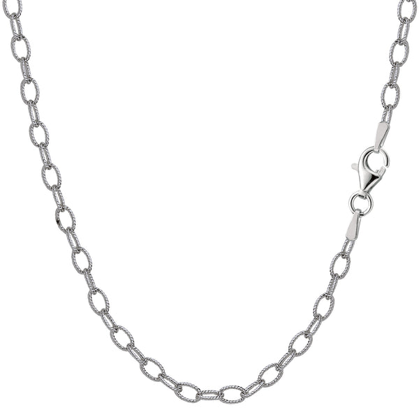 Sterling Silver Rhodium Plated Oval Rolo Chain Necklace, 3.5mm