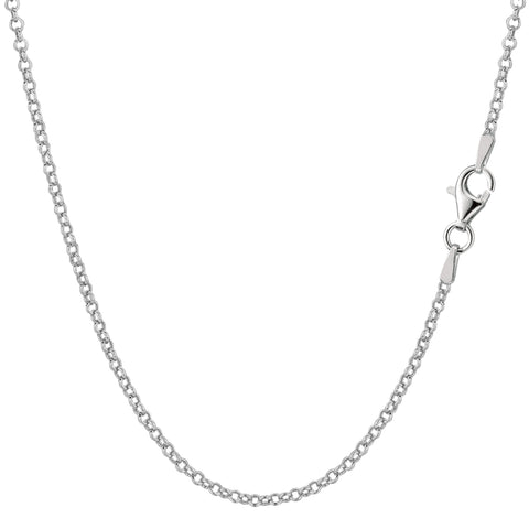 Sterling Silver Rhodium Plated Rolo Chain Necklace, 1.4mm - JewelryAffairs  - 1