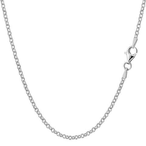 Sterling Silver Rhodium Plated Rolo Chain Necklace, 1,8mm - JewelryAffairs  - 1
