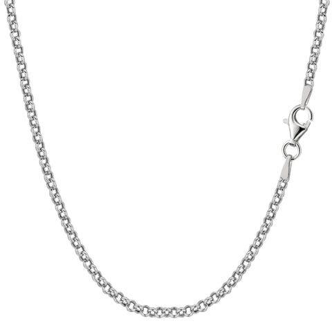 Sterling Silver Rhodium Plated Rolo Chain Necklace, 2.4mm