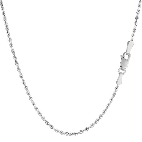 Sterling Silver Rhodium Plated Diamond Cut Rope Chain Necklace, 1.4mm - JewelryAffairs  - 1