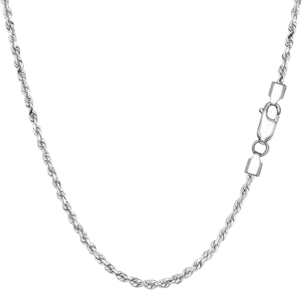 Sterling Silver Rhodium Plated Diamond Cut Rope Chain Necklace, 1,8mm