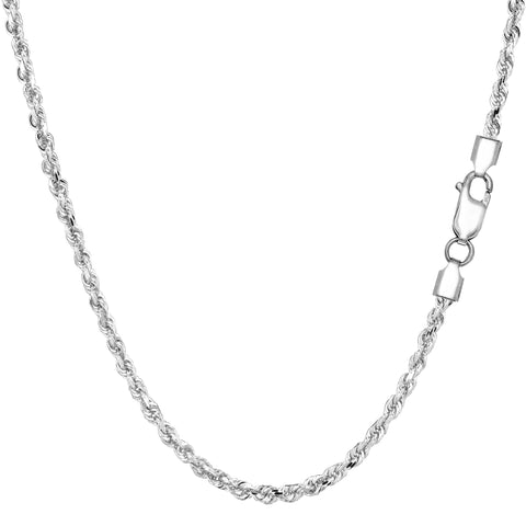 Sterling Silver Rhodium Plated Diamond Cut Rope Chain Necklace, 2.2mm - JewelryAffairs  - 1