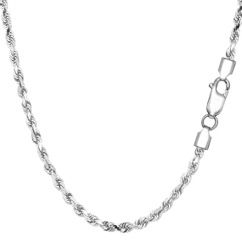 Sterling Silver Rhodium Plated Diamond Cut Rope Chain Necklace, 2.9mm - JewelryAffairs  - 1