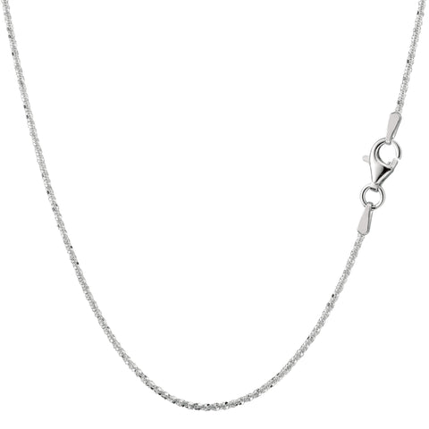 Sterling Silver Rhodium Plated Sparkle Chain Necklace, 1,5mm - JewelryAffairs  - 1